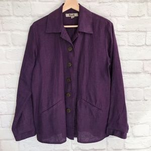 Flax Linen Button Front Jacket